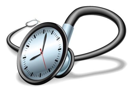 Concepto de tiempo médicos. Estetoscopio con el reloj en el rostro, el concepto de presión de tiempo en el cuidado de la salud o listas de espera, etc..