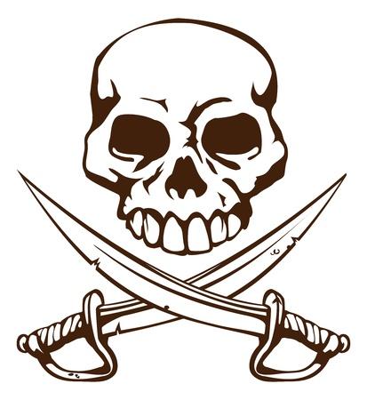 Un cráneo de pirata y símbolo de espadas cruzadas