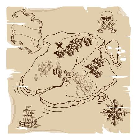 Illustration d'un vieux jeu de pirates plan de l'île treasue Banque d'images - 10415881