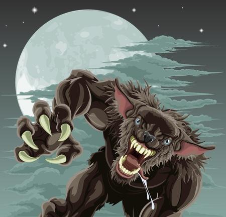 Un temible hombre lobo en frente del cielo Luna. Ilustración de Halloween. Ilustración de vector