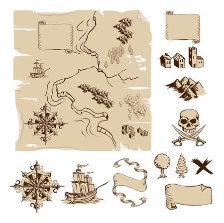 Przykład map i elementów projektu tworzenia własnych fantazji i mapy skarbów. Zawiera góry, budynki, drzewa, kompas itp. Ilustracje wektorowe