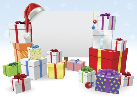 Christmas sign and presents background with copyspace for your message