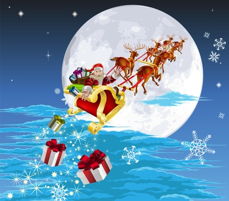 Santa in his Christmas sled or sleigh, delivering his Christmas gifts to everyone