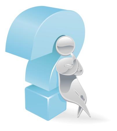 Metallic cartoon mascot character question mark concept