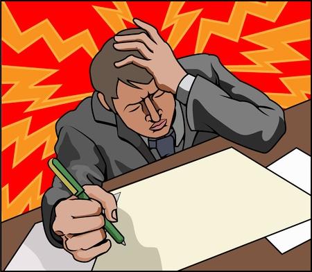 Hombre de negocios buscando muy estresada quizás con dolor de cabeza.