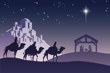Illustration de scène chrétienne de la Nativité de Noël traditionnel avec les trois hommes sages va rencontrer l'enfant Jésus dans la crèche. Vecteurs