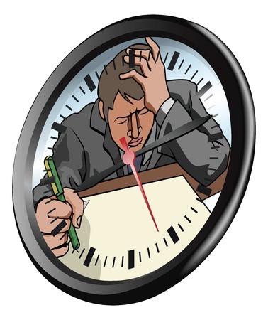 Obra conceptual. Un hombre de aspecto muy estresada y bajo la presión de trabajo en la esfera del reloj