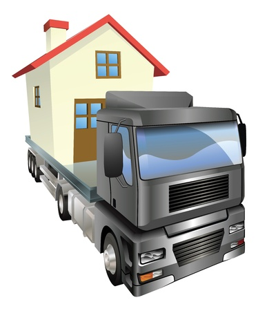 A house or home loaded onto the back of a truck or lorry. Moving house concept.
