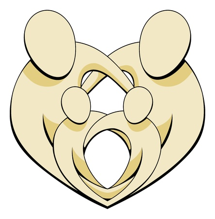 Mother, father and two children family group embracing and holding hands in a heart shape.