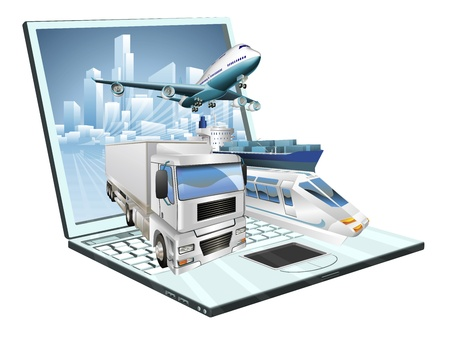 Logistics laptop computer, delivery, transportation; plane, truck, ship, train concept