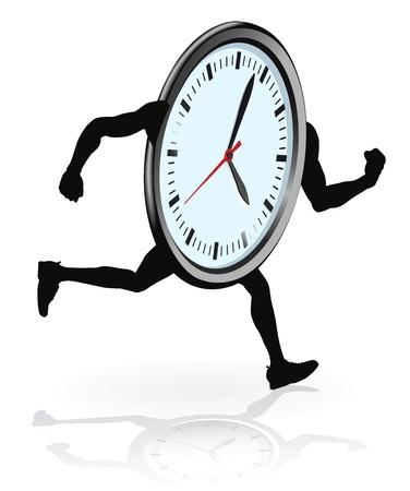 Una ejecución del personaje de reloj. Equilibrar el concepto de quedarse sin trabajo o tiempo de vida. Ilustración de vector