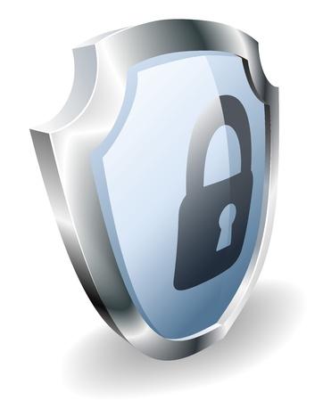 Un protector de candado de seguridad concepto. Escudo con el icono de bloqueo.
