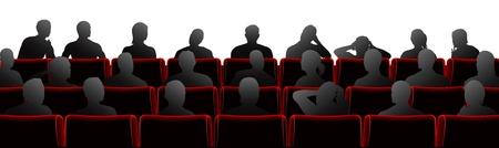 Publiczność siedziała w teatrze lub krzesła w stylu kina