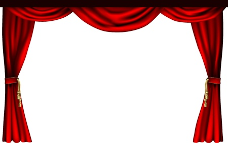 Een set van theater of bioscoop stijl gordijnen