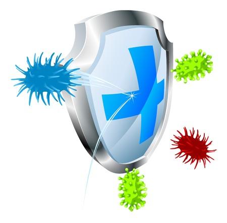 Escudo con virus o bacterias rebotando fuera de ella. Concepto antibacterial o antiviral. También se podría representar el virus informático.