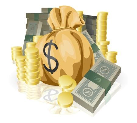 Haufen von Geld in Form von Bargeld und Goldmünzen, mit großen Geldsack. Vektorgrafik