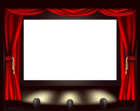 Illustration of cinema screen, lights and curtain