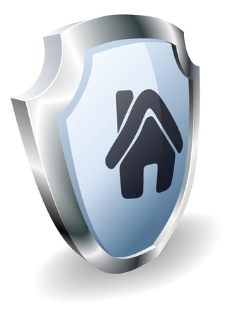 Shield with house icon on indicating it is protected, safe, guaranteed or insured