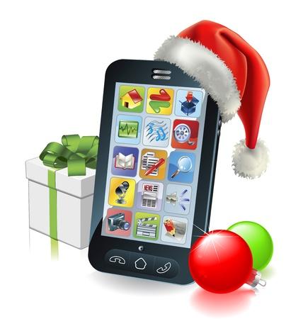 Kerst mobiele telefoon met kerstmuts cadeau en kerstballen Vector Illustratie