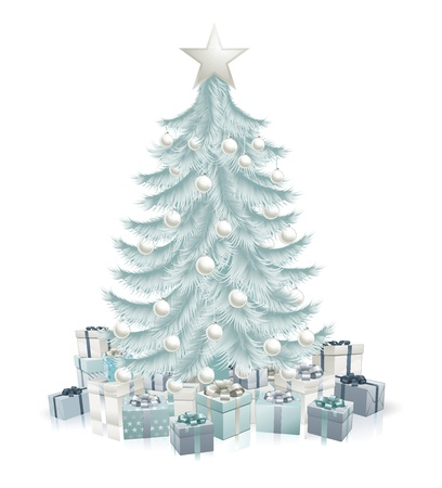 A silver blue Christmas tree with baubles and gifts.