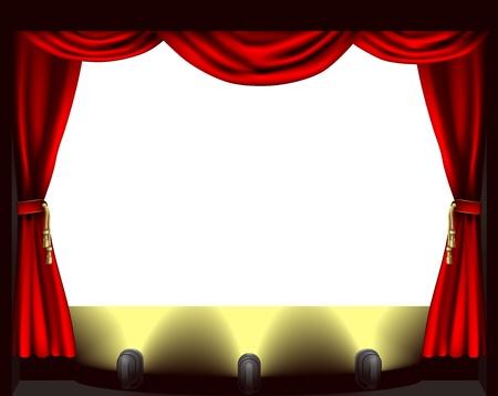Une scène de théâtre, les lumières et l'illustration de rideau