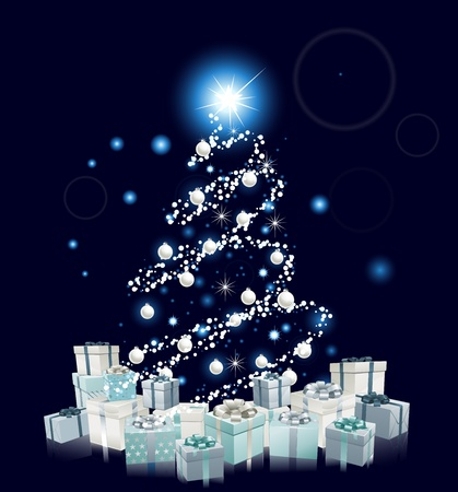 Modern style Christmas tree design. Blue and silver Christmas tree with baubles and gifts.