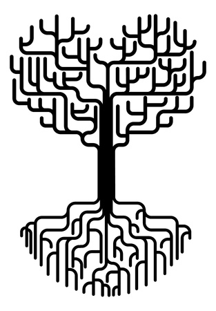 Ilustración de silueta de árbol abstracto conceptual. Árbol con ramas en la forma de un corazón con fuertes raíces. Amor que necesitan bases fuertes o concepto sólo por amor.