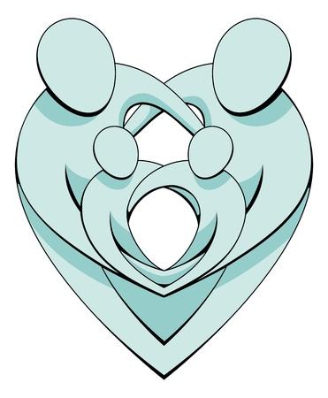 Una ilustración de una familia amorosa sosteniendo entre sí formando exigen formas de corazón entrelazados. Ilustración de vector