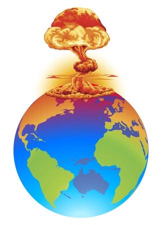 Una explosión de nube de hongo en el globo del mundo. Desastre global de concepto, catástrofe, fin del mundo etc..