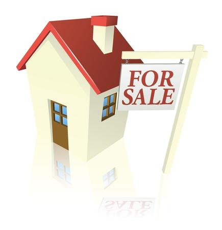 Illustration d'une maison à vendre avec pour signer la vente Vecteurs