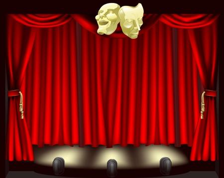 Escenario de teatro con máscaras de comedia y tragedia, footlights y cortinas