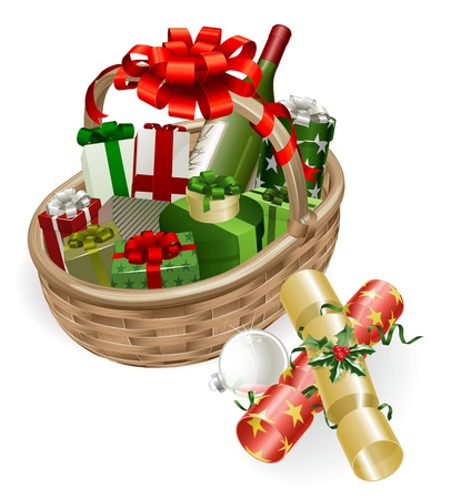 A Christmas basket with wine, gifts, crackers and ball bauble decoration