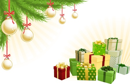 Christmas red, green and gold corner background elements. Christmas tree, balls and gifts. Corners can be moved for more space in centre