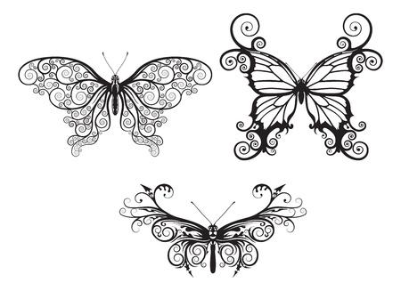 Ilustraciones de resumen estilizado mariposas con patrones y arremolinan compongan alas