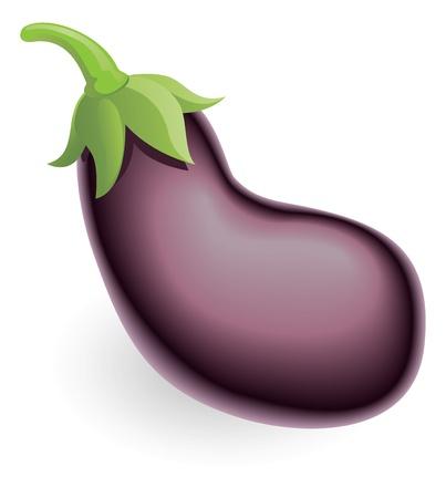 An illustration of an aubergine, eggplant, or guinea squash