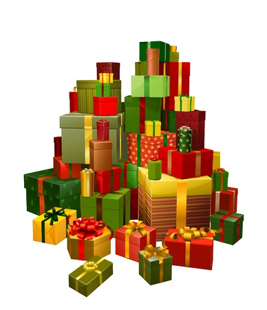 Illustration of a large pile of gifts in green, red and gold
