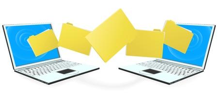 Dos ordenadores portátiles con archivos, carpetas o documentos de transferencia de entre uno y otro