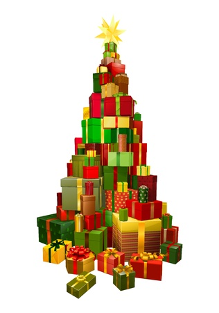 Pile of presents or gifts stacked in the shape of a Christmas tree