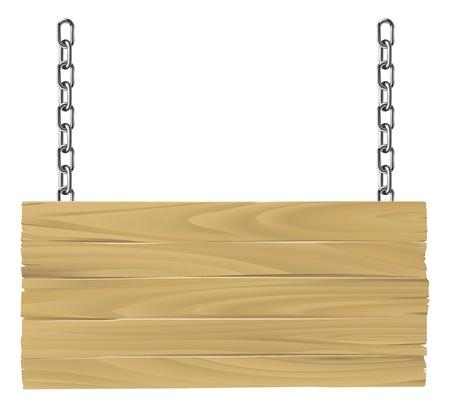 Illustrazione di un vecchio cartello in legno sospeso su catene Vettoriali