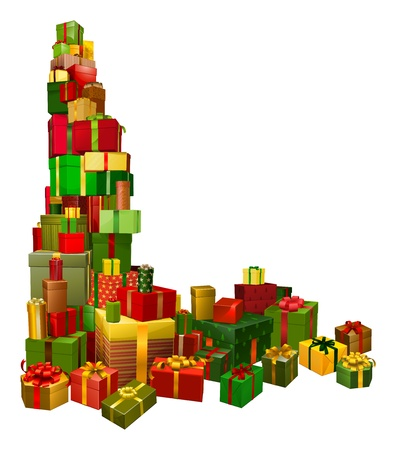 A corner shaped design element of lots of Christmas gifts
