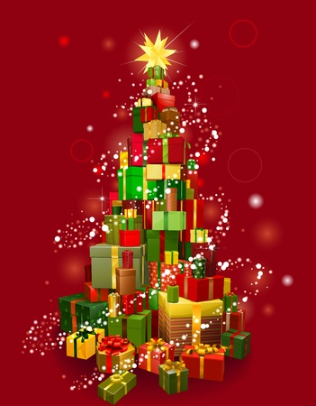 Stack of gifts in the shape of a Christmas tree with lights and red background