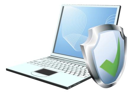 Ordenador portátil con pantalla icono de marca. Concepto de seguridad de Internet o antivirus o firewall, etc Ilustración de vector