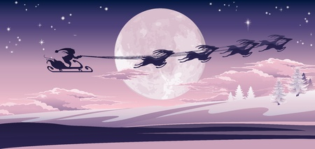 Silhouette of Santa and his reindeer flying through the air over winter scene.