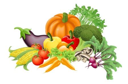 Ilustración de un surtido de vegetales frescos sabrosos Ilustración de vector