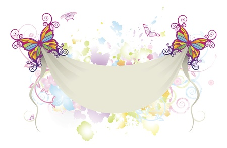 Abstract background of flowers with butterflies holding up a sheet banner with space for text