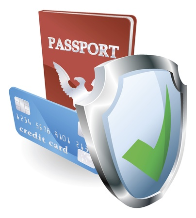 Personal identity documents with shield icon indicating they are protected, safe, secure or insured. Vektoros illusztráció
