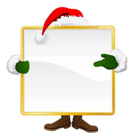 산타는 크리스마스 기호 뒤에 서 그것을 가리키는