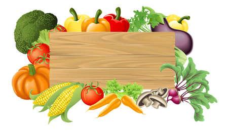 Illustrazione di un cartello in legno circondato da verdure fresche