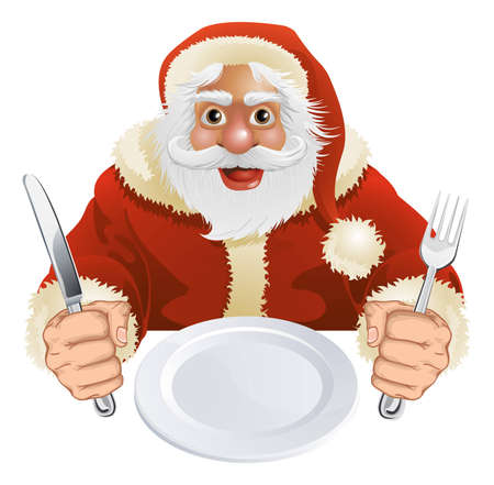 Illustration of Santa Claus seated for Christmas Dinner with empty plate and knife and fork Illustration