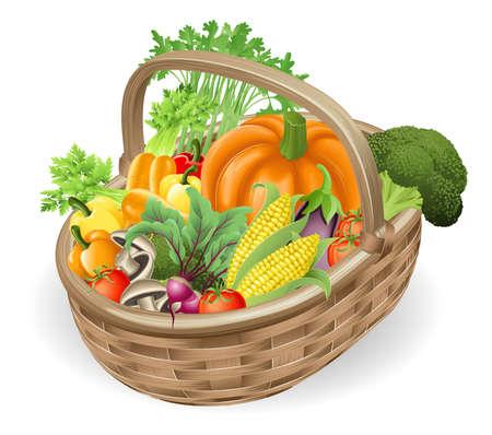 Ilustración de la canasta o dificultar de una variedad de vegetales frescos sabrosos